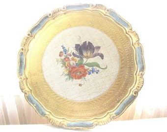 Vintage Florentine Tray, Turquoise Blue Tray, Italian Tray, Paris Apartment, Hollywood Regency, Shabby Chic, Cottage Chic, from AllieEtCie