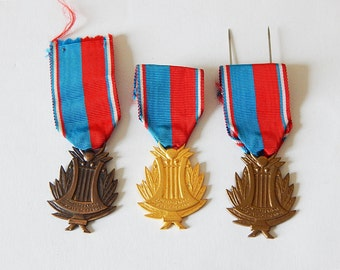 french music medals 3 vintage french medals with ribbons