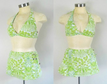 Tommy Hilfiger Two Piece Bathing Suit Bra Top Skirt Bottom Green White