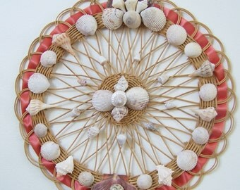 "Seashell and Rattan Wall Hanging - Original Design - Natural Shells and Wood Home/Beach Decor - 14"" Diameter"