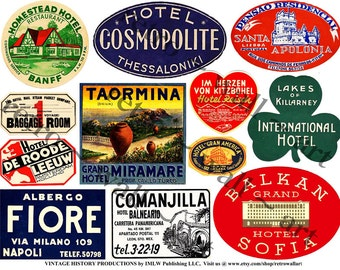DIGITAL Clip Art, Antique Hotel Labels, Luggage Labels, Antique Travel Tags, European Hotels, Scrapbook Collage, Vintage Altered Arts, 401