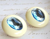 Lucite Blue Vintage Earrings Pierced Vintage Jewelry