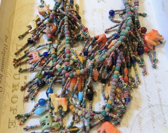Huge Bib Necklace Pierced Earrings Dangle Vintage Jewelry Set Tribal