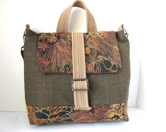 Half off - Messenger Bag, Satchel, Travel Bag, Laptop/Tablet, Brown Plaid, Burnt Orange, Suit Coat Bag, by Lily Whitepad