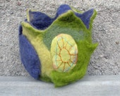 Felted Bowl artist,embroidery Wool Basket,Newborn Baby Basket,Easter room decor.