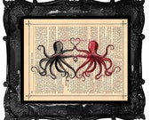 Personalized Valentine's Day Gift - Personalized art print - Octopus Personalized Valentine dictionary antique book page music page