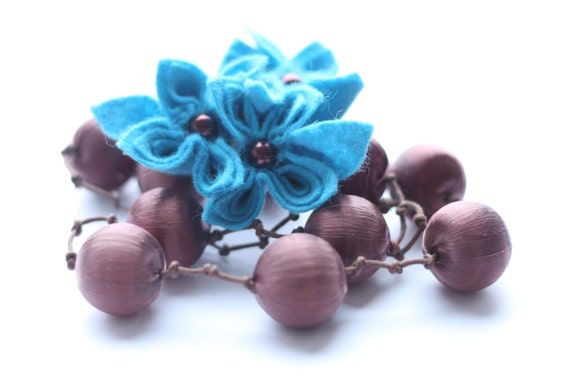 Brown and Turquoise, Turquoise Flower Necklace,  Felt  Flower Necklace