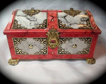 Vintage WesternGermany Treasure Chest Marbelized Tin.