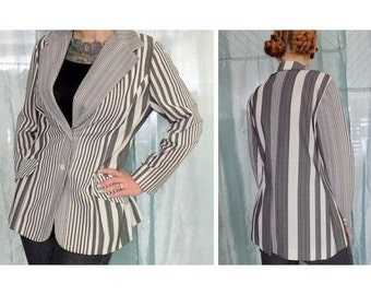Vintage Black & White Striped Jacket, Spring Blazer, 70s Lightweight Coat, Copley Square Ltd., Medium