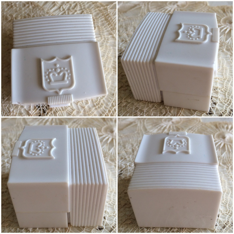 Vintage Ring Box Wedding Engagement White Celluloid Plastic