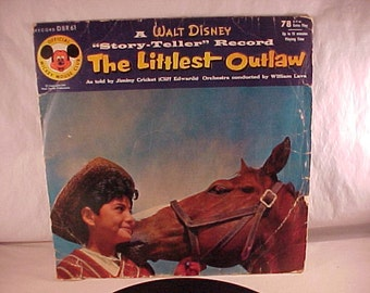 Walt Disney The Littlest Outlaw 78 rpm Record 1955 Official Mickey Mouse Club record