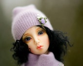 Wool Angora Emroidery OOAK hat slouchy for SD Dollfie Ooak Abstract bjd sd10 sd13 ball jointed doll Bjd beanie
