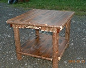 Maine Made Rustic Cedar End Table With Birch Accents