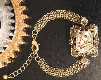 Steam Punk, Victorian Brass Watch Movement Bracelet