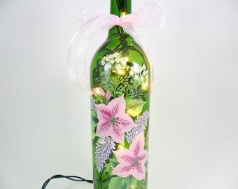 Lighted Wine Bottle Pink Azalea Purple Sage Babys Breath Hand Painted Flowers 750 ml