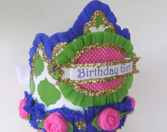 Birthday Hat- BIRTHDAY GIRL or CUSTOMIZE Lime, Royal, Pink