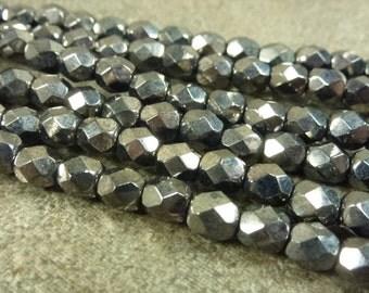 Gunmetal Metallic Czech Glass Firepolish Beads 5mm Faceted Glass 25pc