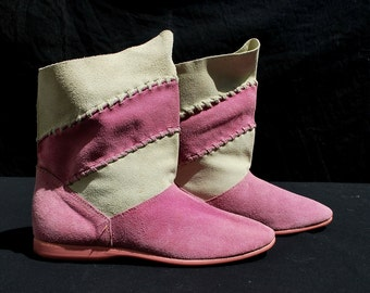 Vintage KISS suede boots 80's booties bi-color hippie boho pink suede size 8 by thekaliman