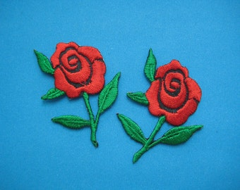 SALE~ 2 pcs Iron-On embroidered Applique Red Rose 2 inch
