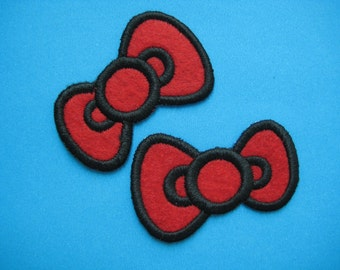 2 pcs Iron-on Embroidered Patch Bow Hairclip 2.25 inch