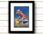 Beach Wall Art - Orange  - Beach Art - Reproduction of Original Oil Painting Titled: Orange Baby - Linen Textured Paper Prints