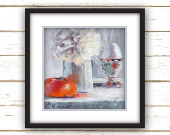 Persimmon & Egg - Painting Print