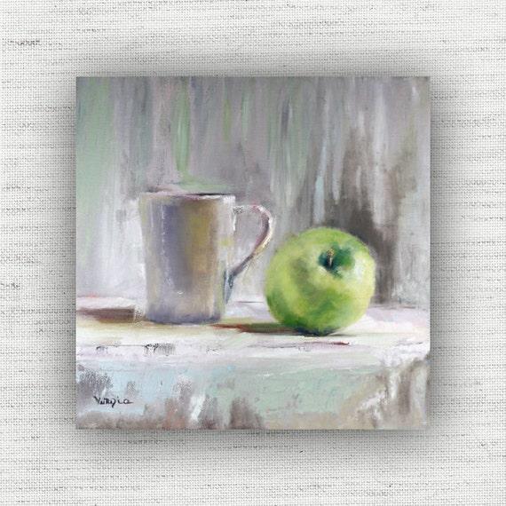 Kitchen wall art green kitchen art green apple by veneziaart - Green apple kitchen decor ...