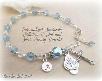 Swarovski Birthstone Crystal of Choice - Confirmation Rosary Bracelet - Holy Spirit Charm - Sterling Initial Bead