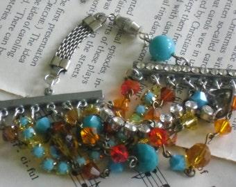 sunrise assemblage multistrand bracelet~upcycled layered bracelet~layering jewelry~bohemian chic