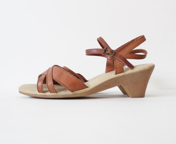vintage 80s gummy sole wedge sandals 10 narrow brown