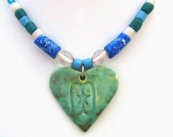 Green Ceramic Handmade Heart Pendant with Glass Beads