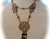 Neo-Victorian Style Vintage Two Strand Pendant Necklace with Beaded Charms and Vintage Filagrees