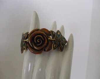 Copper Rose Center Bracelet  - Green Leaves - Cuff Style - Hinged - Vintage -  Polished -Gifts - Free Shipping USA - #943