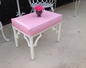 FAUX BAMBOO BENCH Pink Vinyl Seat Hollywood Regency Chippendale Style On Sale at Retro Daisy Girl