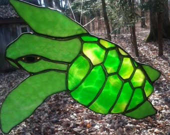 Adorable Stained Glass Baby Sea Turtle