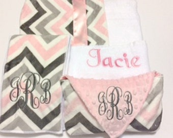 Burp for Girls, Wipes & Diaper Holder, and a Hooded Towel, Embroidery Name or Initials