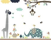 Aztec Nursery Branch, Modern Animal Aztec Patterns, Aztec Animals, Tribal Wall Decals, Nursery Wall Art, Aztec Patterns