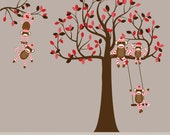 Vinyl Wall Decal  Childrens Wall Decal -  Sock Monkey Decal Tree - Chevron Sock Monkeys