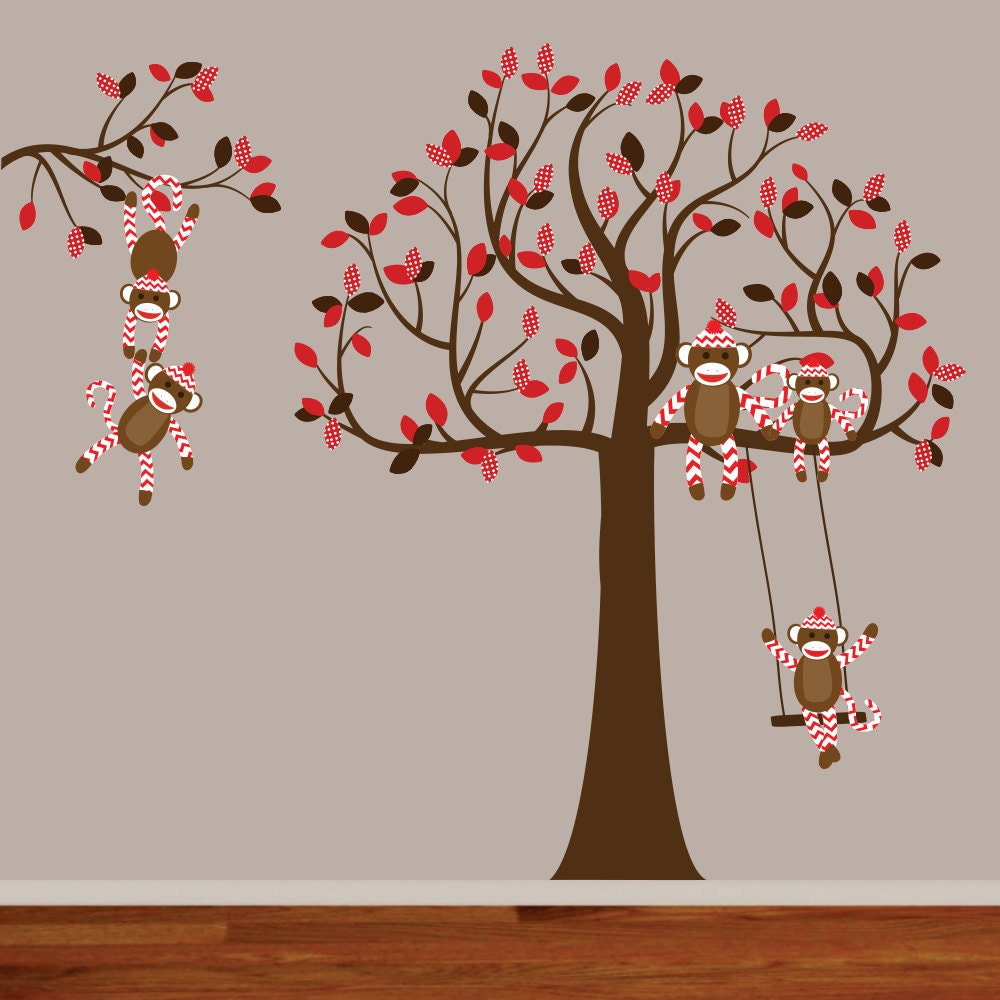 vinyl wall decal childrens wall decal sock monkey decal