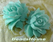 34-00-CA 2pcs High Quality Cabbage Rose Cabochon - Aqua Blue