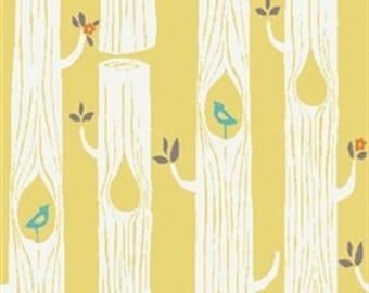 Organic Cotton KNIT Fabric - Birch Circa 52 Knits - Tree Stripes Sun