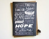 For I know the plans I have for you. Jeremiah 29:11. Scripture greeting cards. Hand drawn typography bible. JC373
