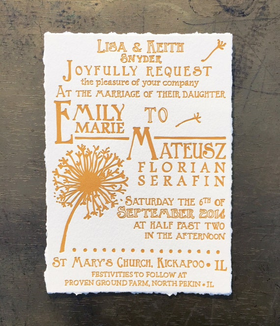 Matchy Matchy Letterpress Invite And Handmade Envelope: Letterpress Wedding Invitations Dandelion By SeasidePress