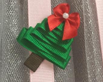 Handmade Christmas Tree Hair Clip