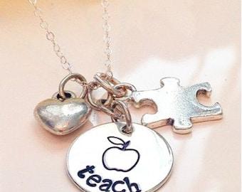 Autism Teacher Necklace-Teacher appreciation gift-Teacher Gift-Autism-Special Needs-Apple Teacher necklace