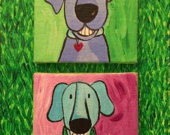 Buddies, original acrylic painting, stretched canvas, two happy dogs, portrait, green grass