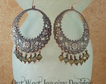 Gypsy Cowgirl Earrings - Copper Floral Rings with Mocha Swarovski Crystal