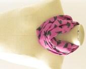 Purple Feather Scarf - Purple Infinity Scarf -  Silk Feather Scarf