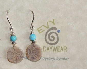 Fossilized Coral and Sleeping Beauty turquoise Earrings, beachy boho pierced earrings handmade from natural fossil coral and turquoise, OOAK