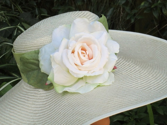 Wide Brim Derby Hat, Wedding Hat, Church Hat, Formal Hat, Ascot Hat Garden Tea Party Hat, Special Occasion hat Cream hat, Ivory hat Big Hat